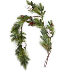 Garland Fir-Berrie plastic 120x20x10cm green-brown-white