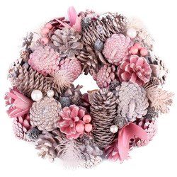 Wreath Cosy-Xmas natural light-pink 25x25x8cm