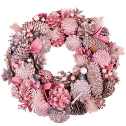 Wreath Cosy-Xmas natural light-pink 33x33x9cm