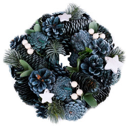 Wreath Country-Xmas natural blue-natural 25x25x8cm