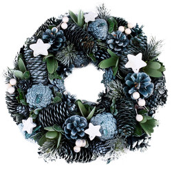 Wreath Country-Xmas natural blue-natural 32x32x9cm
