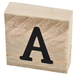 Letter A Deco Block timberwood 9x9x3cm natural