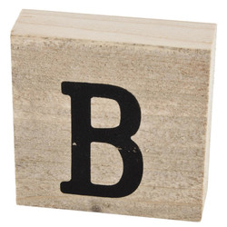 Letter B Deco Block timberwood 9x9x3cm natural