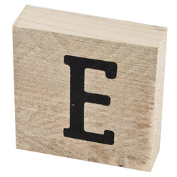 Letter E Deco Block timberwood 9x9x3cm natural