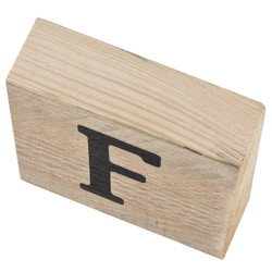 Letter F Deco Block timberwood 9x9x3cm natural