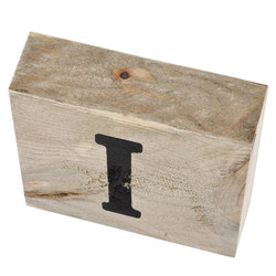 Letter I Deco Block timberwood 9x9x3cm natural