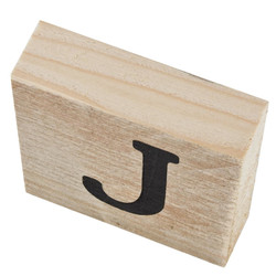 Letter J Deco Block timberwood 9x9x3cm natural