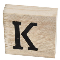 Letter K Deco Block timberwood 9x9x3cm natural