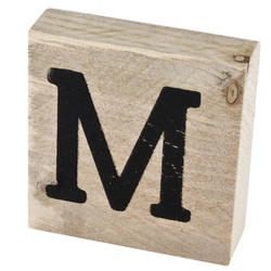 Letter M Deco Block timberwood 9x9x3cm natural