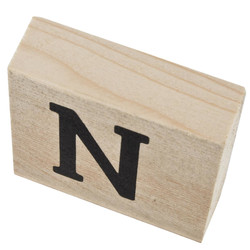 Letter N Deco Block timberwood 9x9x3cm natural