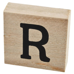 Letter R Deco Block timberwood 9x9x3cm natural