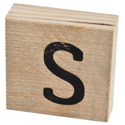 Letter S Deco Block timberwood 9x9x3cm natural