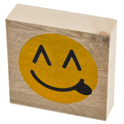 Letter Smiley 1 Deco Block timberwood 9x9x3cm natural