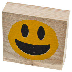 Letter Smiley 3 Deco Block timberwood 9x9x3cm natural