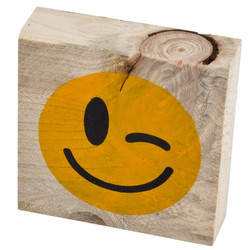 Letter Smiley 5 Deco Block timberwood 9x9x3cm natural