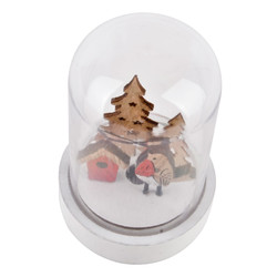 Glassbell Bird LED Xmas-Deco wood-glass 9x6x6cm natural-red