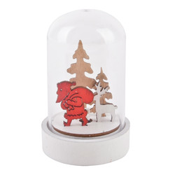 Glassbell Santa LED Xmas-Deco wood-glass 9x6x6cm white-red