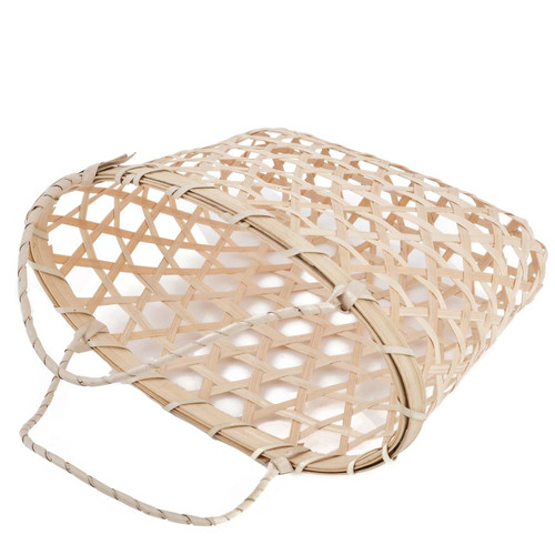 Basket oval 2 Handle Bambo Design 15x21x11cm natural