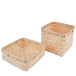 Basket with Cover Box Bambo Design 14x16x16cm natural