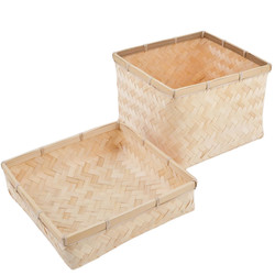 Basket with Cover Box Bambo Design 17x23x23cm natural