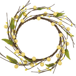 Wreath Blossoms Berries Deco artificial 25x25x5cm yellow