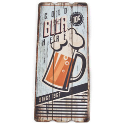 Holzschild -Cold Beer- 34x15cm bunt