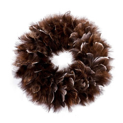 Wreath Luxury-Winter Design Feather Deco 35x35x5cm brown