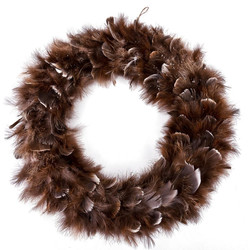 Wreath Luxury-Winter Design Feather Deco 45x45x6cm brown