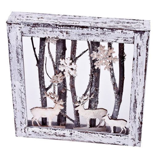 Xmas-Forrest Deco-Object wood 25x25x5cm white-natural