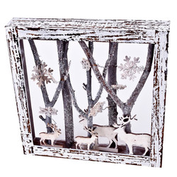 Xmas-Forrest Deco-Object wood 30x30x5cm white-natural