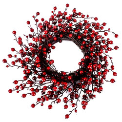 Wreath Berries Xmas-Deco plastic 50x50x8cm red