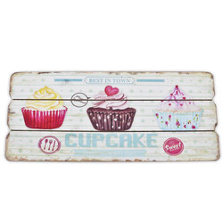 Mural Cupcakes Design MDF 15x34cm coloured pink