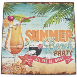 Holzschild -Summer Beach Party- 25x25cm bunt