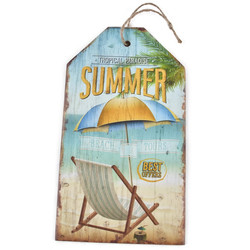 Holzschild Tropical Paradise Summer Design MDF 27x15cm bunt