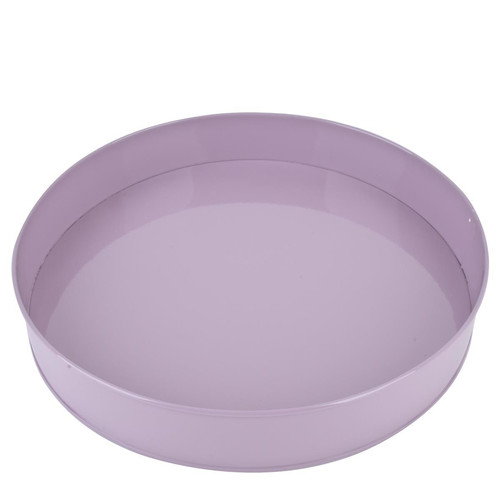 Tablett -Plain Color- rund Metall 5x31x31cm mauve