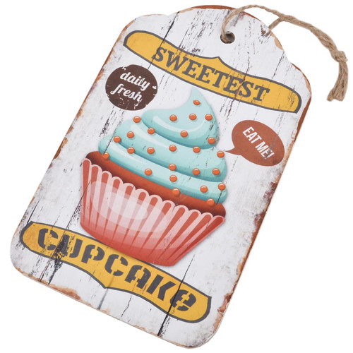 Holzschild Anhänger -Cupcakes Sweetest- 24x15cm bunt
