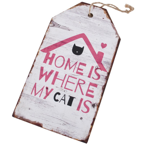 Holzschild Home Cat Design MDF 27x15cm weiss-pink
