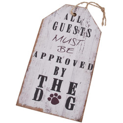 Holzschild Approved by the Dog Design MDF 27x15cm weiss-grau