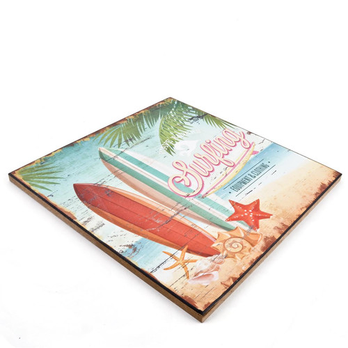 Holzschild Surfing Beach Design MDF 25x25cm bunt