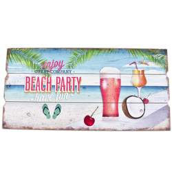 Holzschild Beach Party Enjoy Design MDF 30x60cm bunt