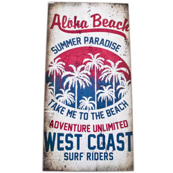 Holzschild -West Coast Surf- 40x20cm bunt